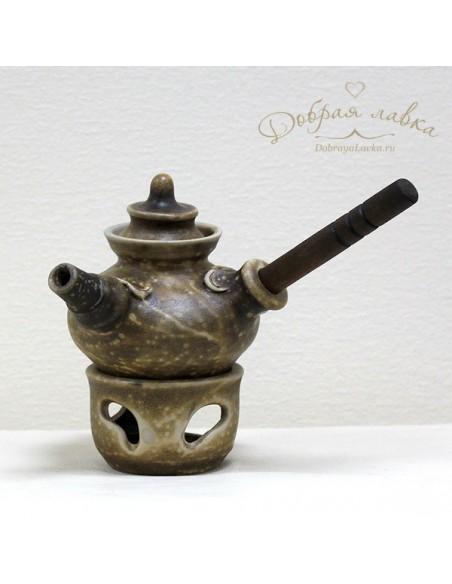 Керамический чайник с деревянной ручкой 0,55 л
