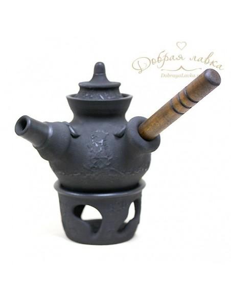 Черный чайник с деревянной ручкой 0,5 л