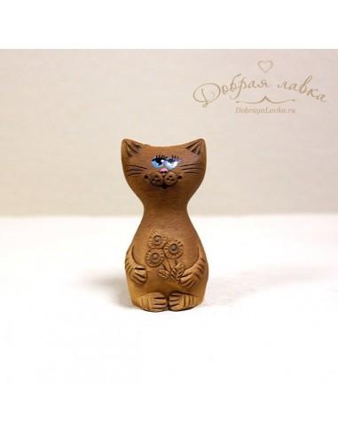 Улыбающийся котик из глины
