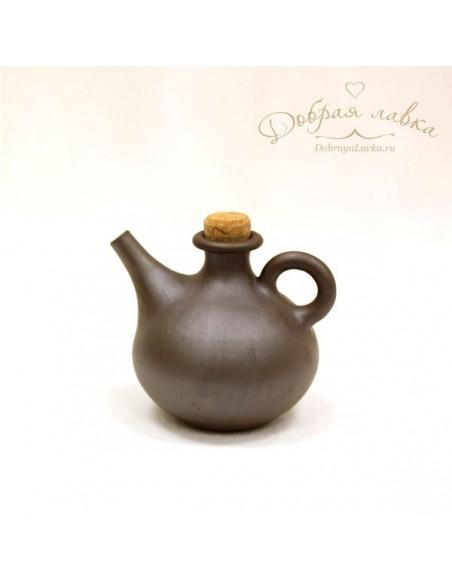 Глиняная бутылочка для масла (темная) 0,3 л